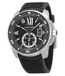 Cartier Calibre de Black Dial Rubber Men's Watch
