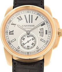 Cartier Calibre De Cartier 18kt Rose Gold Silvery & White Automatic W7100009