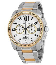 Cartier Calibre de Chronograph Automatic Silver Dial Men's Watch