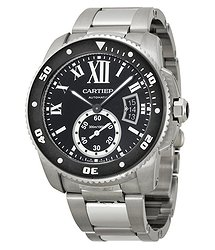 Cartier Calibre de Diver Black Dial Steel Men's Watch