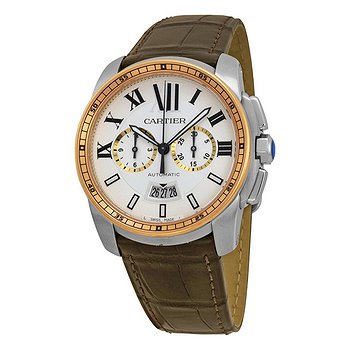 Купить часы Cartier Calibre De Silver Dial Stainless Steel 18kt Pink Gold Brown Alligator Men's Watch  в ломбарде швейцарских часов