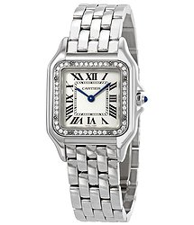 Cartier Panthere Meduim Diamond Silver Dial Ladies Watch W4PN0007