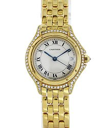 Cartier Panthere Quartz Diamond White Dial Ladies Watch