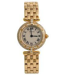 Cartier Panthere Round Diamond Beige Dial Ladies Watch