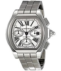 Cartier Roadster Automatic Chronograph Silver Dial Stainless Steel Men's Watch