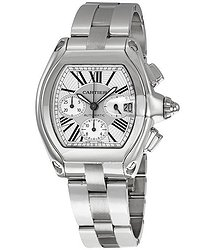 Cartier Roadster Chronograph Automatic Silver Dial Men's Watch