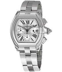 Cartier Roadster Chronograph Silver Dial Men's Watch