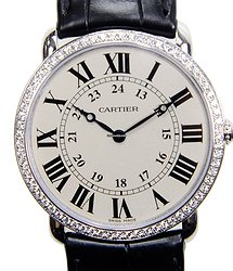 Cartier Ronde Louis Cartier 18kt White Gold & Diamond Silvery & White Manual Wind WR000551