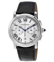 Cartier Rotonde Cartier Automatic Chronograph Silver Dial Black Leather Men's Watch