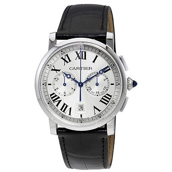 Купить часы Cartier Rotonde Cartier Automatic Chronograph Silver Dial Black Leather Men's Watch  в ломбарде швейцарских часов