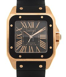 Cartier Santos 18kt Rose Gold Black Automatic W20124U2