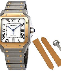 Cartier Santos Automatic Silvered Opaline Dial Steel and 18kt Yellow Gold Men's Watch