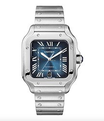 Cartier Santos Stainless Steel Blue Dial Men's Watch, WSSA0013