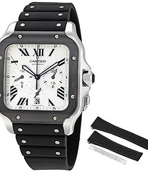 Cartier Santos XL Chronograph Automatic Silver Dial Men's Watch