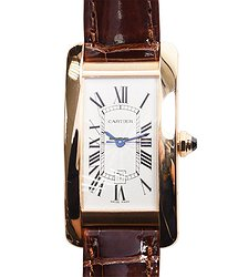 Cartier Tank 18kt Rose Gold Silvery & White Automatic W2620030