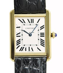 Cartier Tank 18kt Yellow Gold Silvery & White Quartz W5200004