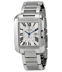 Cartier Tank Anglaise Automatic Silver Dial Stainless Steel Men's Watch