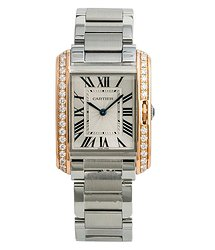 Cartier Tank Anglaise Diamond Silver-tone Dial Ladies Watch 3827