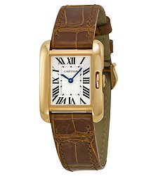 Cartier Tank Anglaise Silver Dial 18k Rose Gold Brown Leather Small Ladies Watch