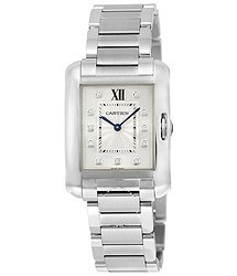 Cartier Tank Anglaise Silver Dial Diamond Stainless Steel Ladies Watch