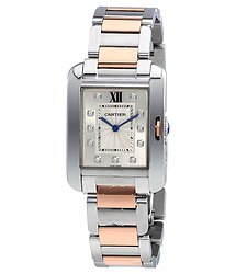 Cartier Tank Anglaise Silver Dial Stainless Steel Ladies Watch