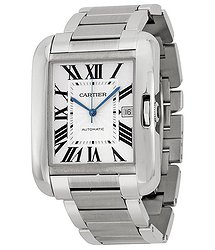 Cartier Tank Anglaise Silver Dial Stainless Steel Men's Watch