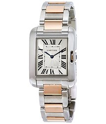 Cartier Tank Anglaise Silvered Flinque Dial Ladies Watch