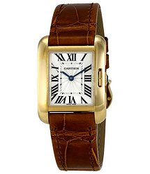 Cartier Tank Anglaise Small Silver Dial Ladies Brown Leather Strap Watch