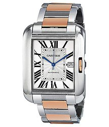 Cartier Tank Anglaise XL Automatic Silver Dial 18 kt Rose Gold and Steel Men's Watch
