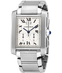 Cartier Tank Francaise Chronograph Quartz Silver Dial Men's Watch