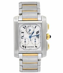 Cartier Tank Francaise Chronograph Quartz White Dial Men's Watch