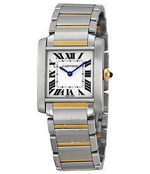 Cartier Tank Francaise Silver Dial 18kt Yellow Gold Steel Ladies Watch