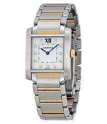 Cartier Tank Francaise Silver Dial Steel and 18kt Pink Gold Ladies Watch