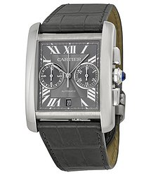 Cartier Tank MC Chronograph Grey Dial Grey Leather Men's Watch
