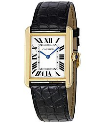 Cartier Tank Solo Silver Dial 18kt Yellow Gold Black Leather Unisex Watch