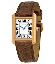 Cartier Tank Solo Silver Dial Brown Leather Strap Ladies Watch