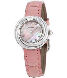 Cartier Trinity Pink Mother of Pearl Diamond Dial 18Kt White Gold Patent Leather Ladies Watch