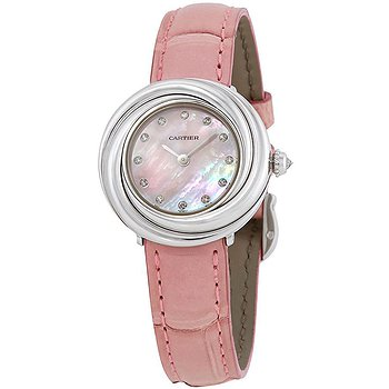 Купить часы Cartier Trinity Pink Mother of Pearl Diamond Dial 18Kt White Gold Patent Leather Ladies Watch  в ломбарде швейцарских часов
