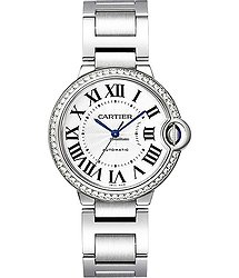 Cartier W4BB0017 Ballon Bleu in Steel with Diamond Bezel - on Steel Bracelet with Silver Roman Dial