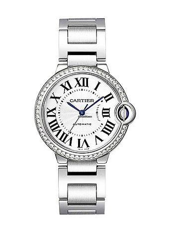 Купить часы Cartier W4BB0017 Ballon Bleu in Steel with Diamond Bezel - on Steel Bracelet with Silver Roman Dial  в ломбарде швейцарских часов