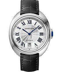 Cartier WSCL0018 Cle de Cartier 40mm in Steel - on Black Crocodile Strap with Silver Dial