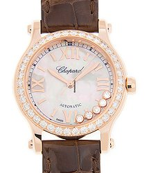 Chopard Happy Diamonds 18kt Rose Gold & Diamonds White Automatic 274893-5010