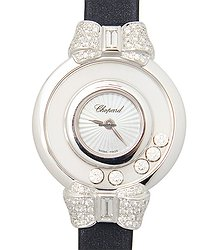 Chopard Happy Diamonds 18kt White Gold Transparent Skull Quartz 209425-1001