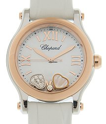 Chopard Happy Hearts 18kt Rose Gold & Steel White Quartz 278590-6005