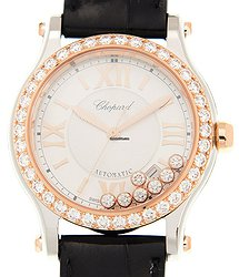 Chopard Happy Sport 18kt Rose Gold & Diamonds Silver Automatic 278559-6003
