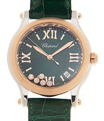 Chopard Happy Sport 18kt Rose Magic & Diamond Green Quartz 278582-6005