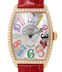 Franck Muller Cintree Curvex 18kt Rose Gold & Diamonds White Quartz 2852 Qz Col Drm Mop D 1r (5N)