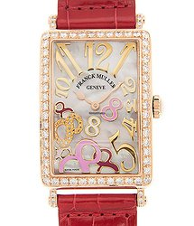 Franck Muller Long Island 18kt Rose Gold & Diamonds White Quartz 952 Qz Rel 8cd Mop Rs D 1R(5N)