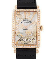 Franck Muller Long Island 18kt Rose Gold & Diamonds White Quartz 952 Qz Rel Mop Bc D 1r Ls (5n) - Black STRAP