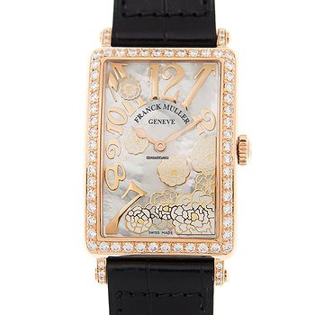 Купить часы Franck Muller Long Island 18kt Rose Gold & Diamonds White Quartz 952 Qz Rel Mop Bc D 1r Ls (5n) - Black STRAP  в ломбарде швейцарских часов